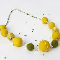 Felt Necklace,Felted Bead Necklace,Felted Ball Necklace,Yellow necklace,beads,eco-frienly, jewelry, felt beads,Every bead was hand felted