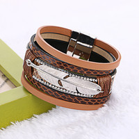 Wide Magnetic Leather bracelets wrap