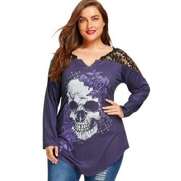 Women Plus Size T-Shirt 5XL Lace Crochet Skull Print Asymmetrical Graphic Tees T Shirts Long Sleeve Loose Tops
