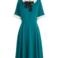 ModCloth 50s Long Short Sleeves A-line Get Up and Bow Dress
