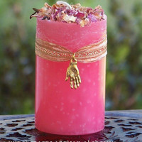 Lori's GYPSY FORTUNE TELLER Romani Magic Pillar Candle w/ Palmistry Charm on Golden Ribbon for Rituals of Divination, Second Sight, Glamoury