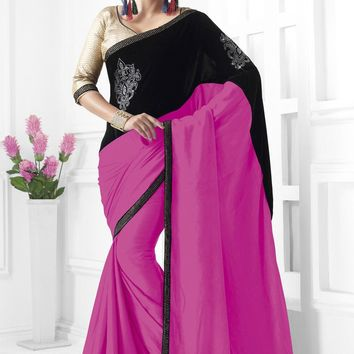 Pink and Black Paper Velvet Designer Saree