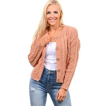 Deep Blush Cable Knit Sweater Cardigan