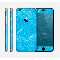 The Blue Painted Brush Texture Skin for the Apple iPhone 6