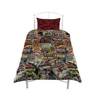 MARVEL COMICS HERO 'AVENGERS' REVERSIBLE ROTARY SINGLE BED DUVET COVER FREE P+P