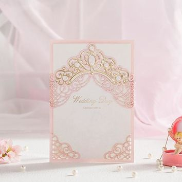 High Quality Invitations Cards For Wedding Special Day Anniversary Lovely Pink 127*180mm With Printing Paper Envelope And Seals