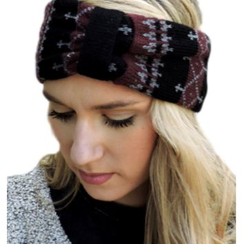 Fair Isle Headwrap, Burgundy