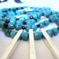 Spring Trend 2013 - Long Turquoise/Onyx Necklace w3 Silver Spears