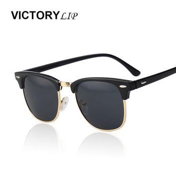 VictoryLip Classic Half Rims Mirror Fashion Sunglasses Men Women UV Protect 100% Rivet Sun Glasses Male Female Shades Vintage