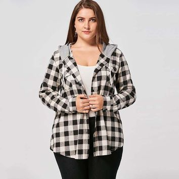 Plus Size Hooded Button Up Plaid Shirt