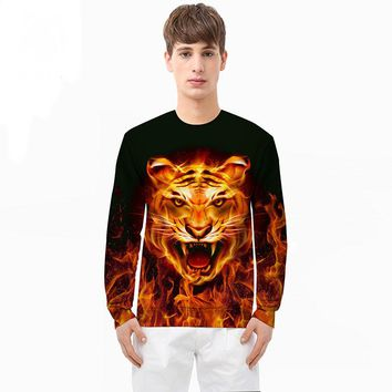 Autumn and winter flame tiger digital 3D sweater custom men's Europe and the United States clothing