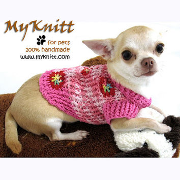 Pink Flower Personalized Dog Clothing Cat Clothes Puppy Sweater Crocheted Knit D879 Myknitt