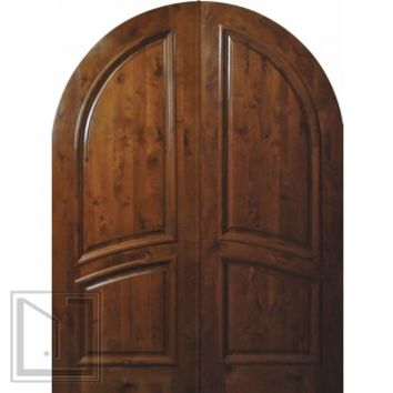Slab Front Double Door 96 Wood Knotty Alder 2 Panel Round Top Solid