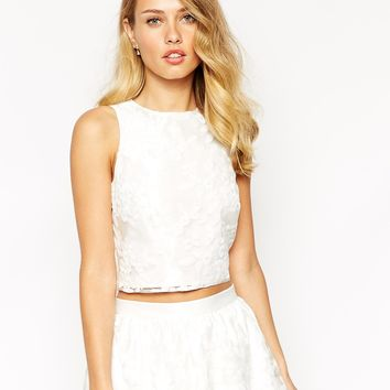 Jarlo Alexandra Lace Crop Top