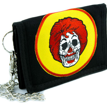 Ronald McDonald Skull Tri-fold Wallet with Chain Alternative Clothing Fast Food Culture
