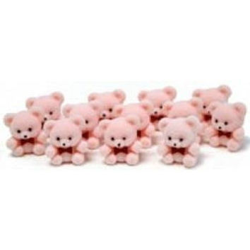 "1"" Miniature Flocked Pink Baby Teddy Bears - Pkg of 24"