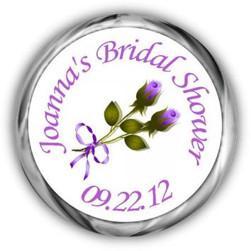 Purple Roses Personalized Bridal Shower HERSHEY'S Kisses Stickers
