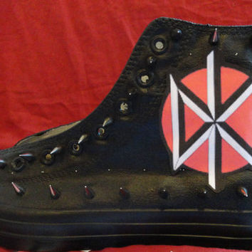DEAD KENNEDYS Punk Rock Heavy Metal Custom Studded Converse Chuck Taylor All Star Sneakers Shoes with Spikes not shirt Men's Women's Kids