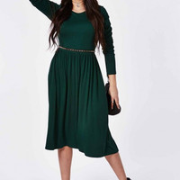 Plus Size Green Long Sleeve Pleated Midi Dress