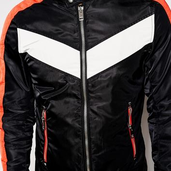 Diesel Jacket J-Red Slim Fit Chevron Nylon Biker