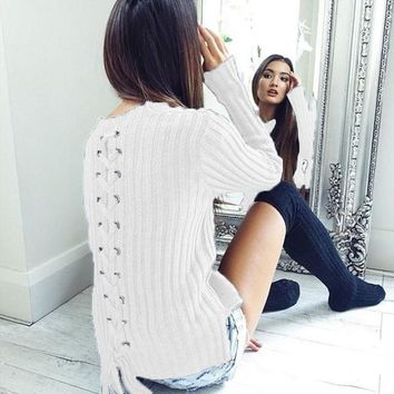 Women knitted Sweaters 2017 Warm Winter Pullovers Winter Lace Up Long Sleeves Elegant Office Lady Work Jumper LJ5644Y