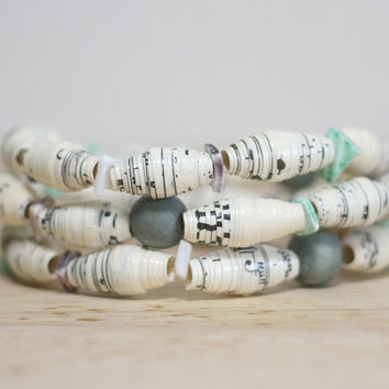 Teal and Blue Recycled Sheet Music Paper Bead Bracelet Set
