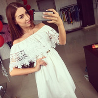 Lace Collar Short Sleeve Dress