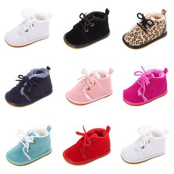 US Winter Infant Baby Boy Girl Warm Boots Soft Sole Toddler Shoes Sneakers 0-18M