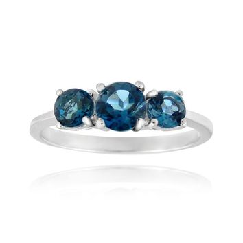 925 Silver 1.2ct London Blue Topaz Three Stone Ring
