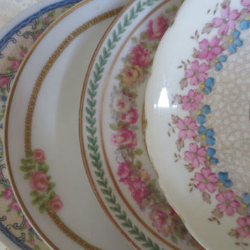 Set of 4 Mismatched Floral China Saucers, Small Plates - Bridal Shower, Tea Party, Wedding Plates