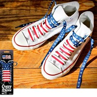 USA RED, WHITE & BLUE STAR SPANGLED CRAZY SHOE LACES