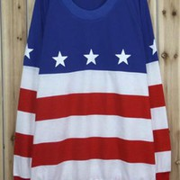 Fashion Retro American Flag Knit Sweater