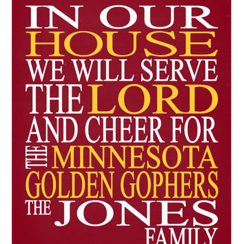 Customized Name Minnesota Golden Gophers - personalized family print poster Christian gift sports wall art - multiple sizes