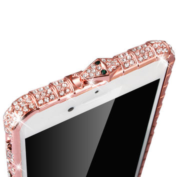7 Plus Luxury Bling Diamond Bumper For Iphone 7 6 6s Plus 5 5s SE Case Fashion Crystal Rhinestone Sanke Inlay Metal Frame Capa