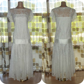 Vintage 80s Retro 20s Drop Waist White Crochet Lace Flapper Dress Gatsby BOHO Wedding Bridal Gown M/L