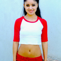 3/4 Sleeve White and Red Raglan Crop Top / Cropped Baseball Tee