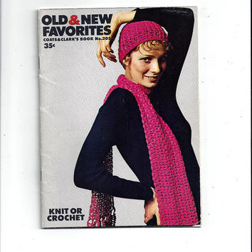 1970 Coats & Clark's Old and New Favorites Knit or Crochet, Book No. 205, Bedspread, Doilies, Stole, Dress, Place Mat, Bikini, Vintage Book