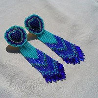 Native American Style Rosette Beaded Inlay Heart Earrings in Cobalt and Azure Blues