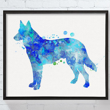 Watercolor German Shepherd, German Shepherd Art Print, German Shepherd Painting, Poster, Dog Lover Gift, Dog Art Print, Boys Room Decor