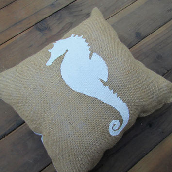 Nautical Themed Sea Horse Burlap 16x16 inches Custom Accent Pillow