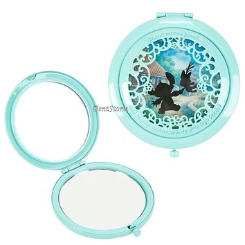 Licensed cool Disney Lilo & Stitch Scrump Silhouette Filigree Cut Out Hinge Compact Mirror NEW