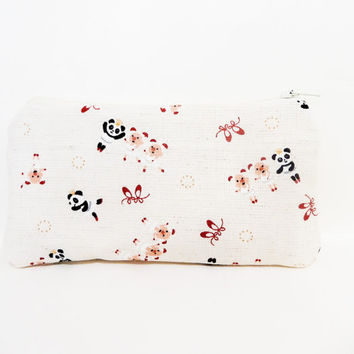 Zipper Pouch, Fabric Pouch, Japanese Import Pouch, Coin Purse, Change Pouch, Pouch, Gift for Her, Gift Under 20, Pandas and Pigs Dancing