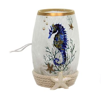Stony Creek SEAHORSE PRE-LIT SMALL VASE Glass Starfish Ocean Nautical Seh9204