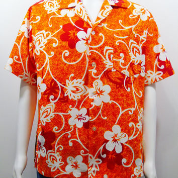 Hale Aloha Isoshimas Vintage 60s Hawaiian Barkcloth Shirt HJQ Print Aloha Friday Shirt Loud Mod Orange Size M