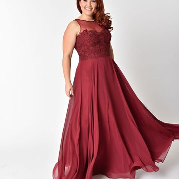 Plus Size Burgundy Red Chiffon Embellished Illusion Neckline Gown