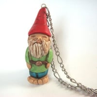 Garden Gnome Necklace  Polymer Clay Pendant by JustClayin on Etsy