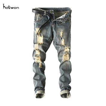 New Hot Sale Men Slim Moto Biker Denim Jeans Skinny Frayed Pants Distressed Rip Trourser