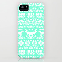 Ho Ho Ho Tiffany Ugly Xmas Sweater Pattern iPhone & iPod Case by RexLambo