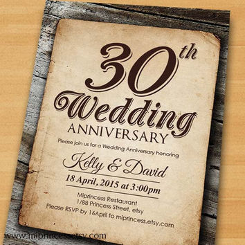 Anniversary Invitation, Wedding Anniversary Invitation 30th 40th 50th 60th 70th vintage retro rustic design  - card 320
