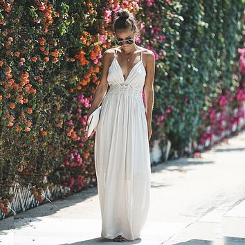2019 Summer Women Lace Dress Strapless Patchwork Rayon Long Dress Tie Up Backless Boho Dress V-neck Maxi Robes Party Dresses